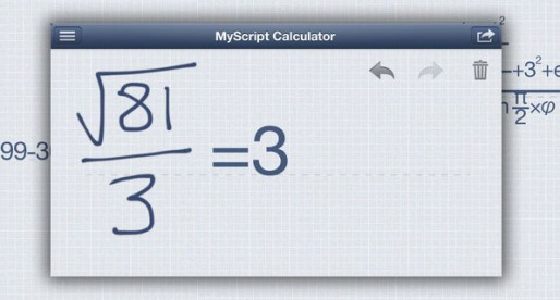 MyScript Calculator 1.1: Calculations by hand