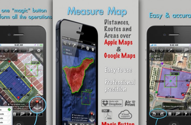 Measure Map: Precise calculations of areas, routes and buildings