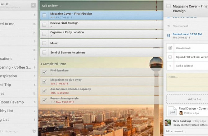 Wunderlist: To-Do and task lists with crossover option