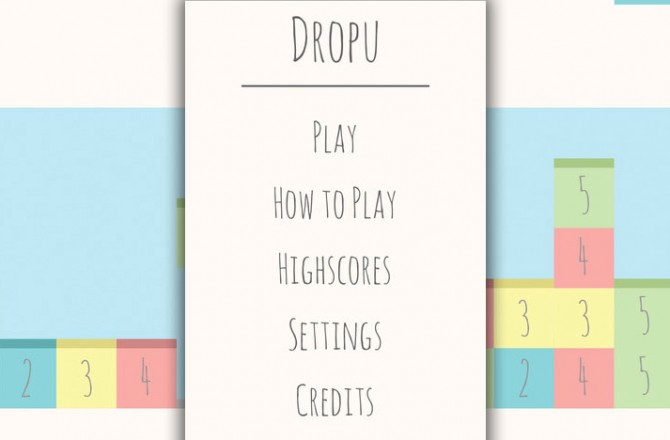 Dropu: A game along the lines of Tetris and Threes!