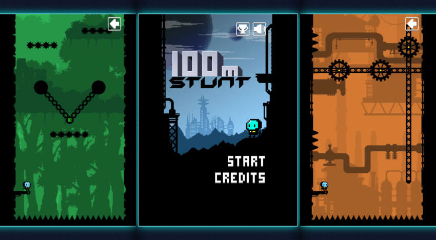 100m Stunt: Ingenious Vertical Platformer in industrial optics
